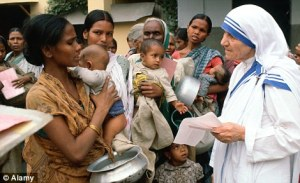 woman feeding the poor